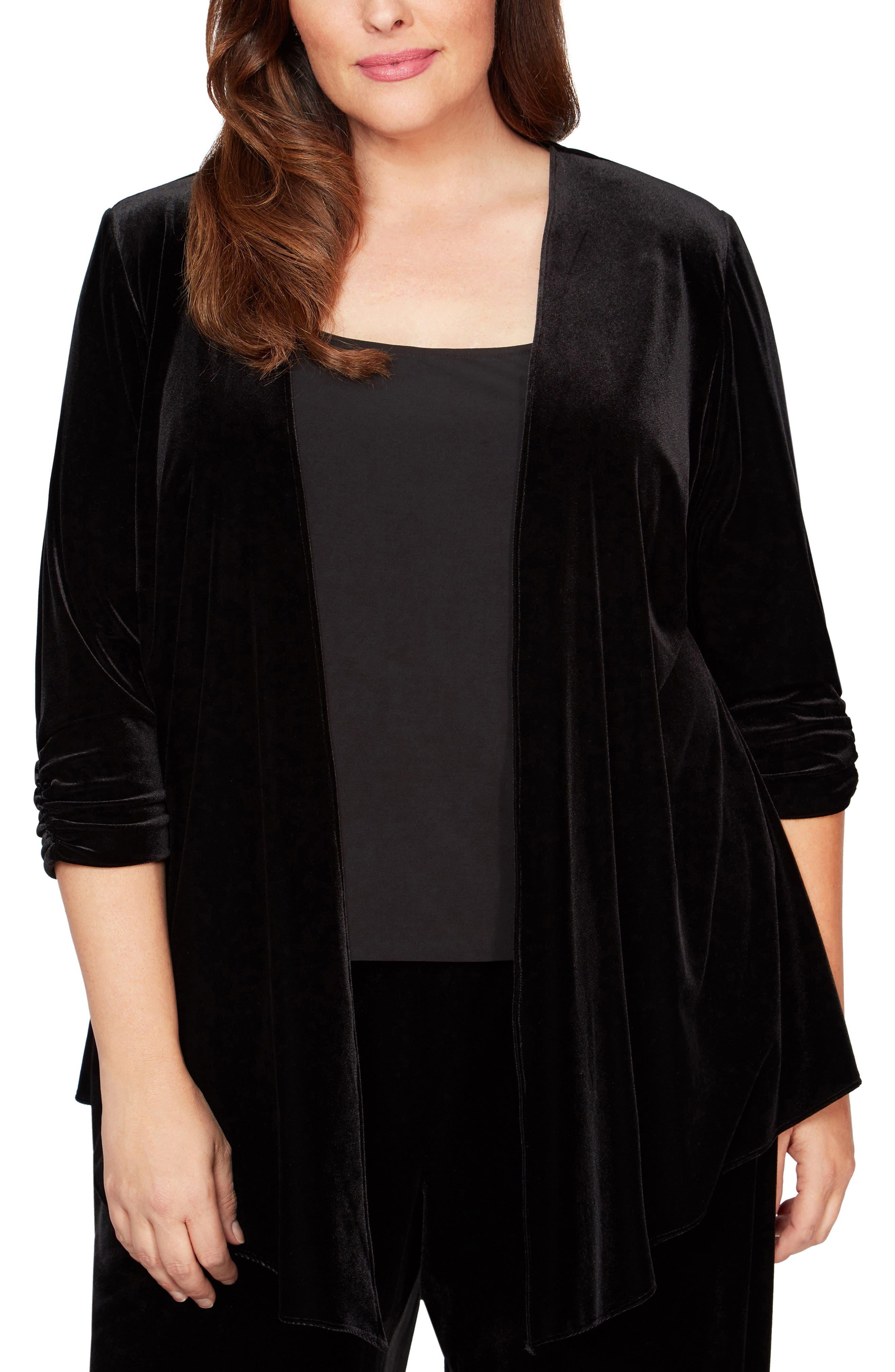 1920s Coats, Furs, Jackets and Capes History Plus Size Womens Alex Evenings Pointed Hem Jacket Size 2X - Black $79.00 AT vintagedancer.com