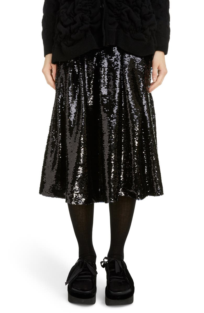 SIMONE ROCHA Pleated Sequin Midi Skirt, Main, color, BLACK
