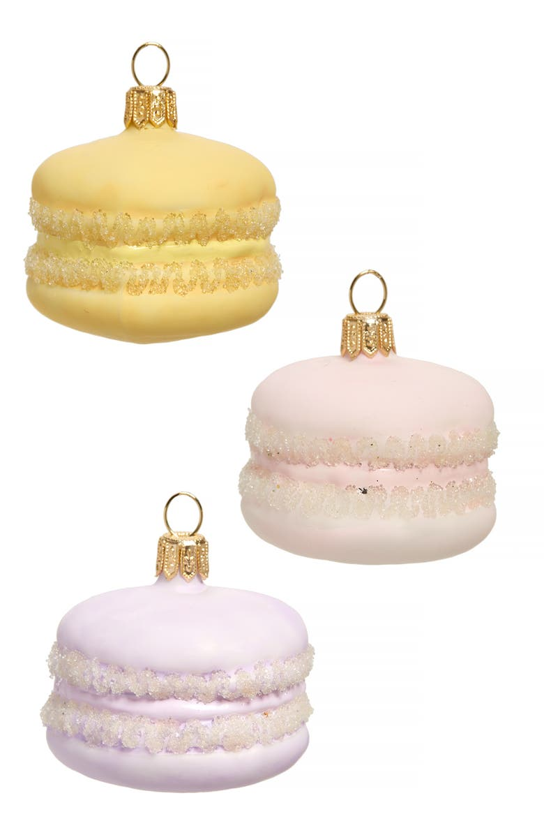 NORDSTROM Set of 3 Glass Macaroon Ornaments, Main, color, MULTI
