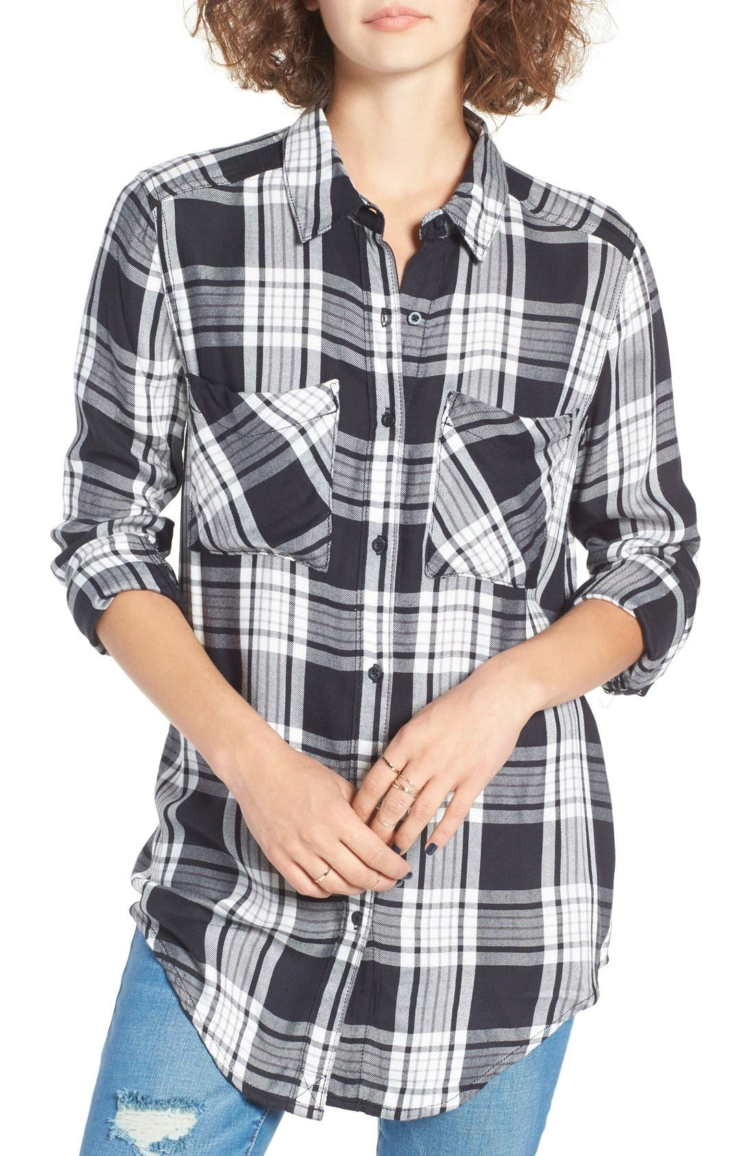 Plaid Tunic Shirt, Main, color, 001
