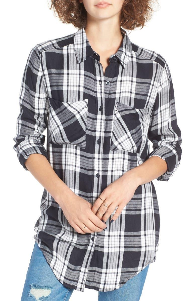 BP. Plaid Tunic Shirt, Main, color, 001