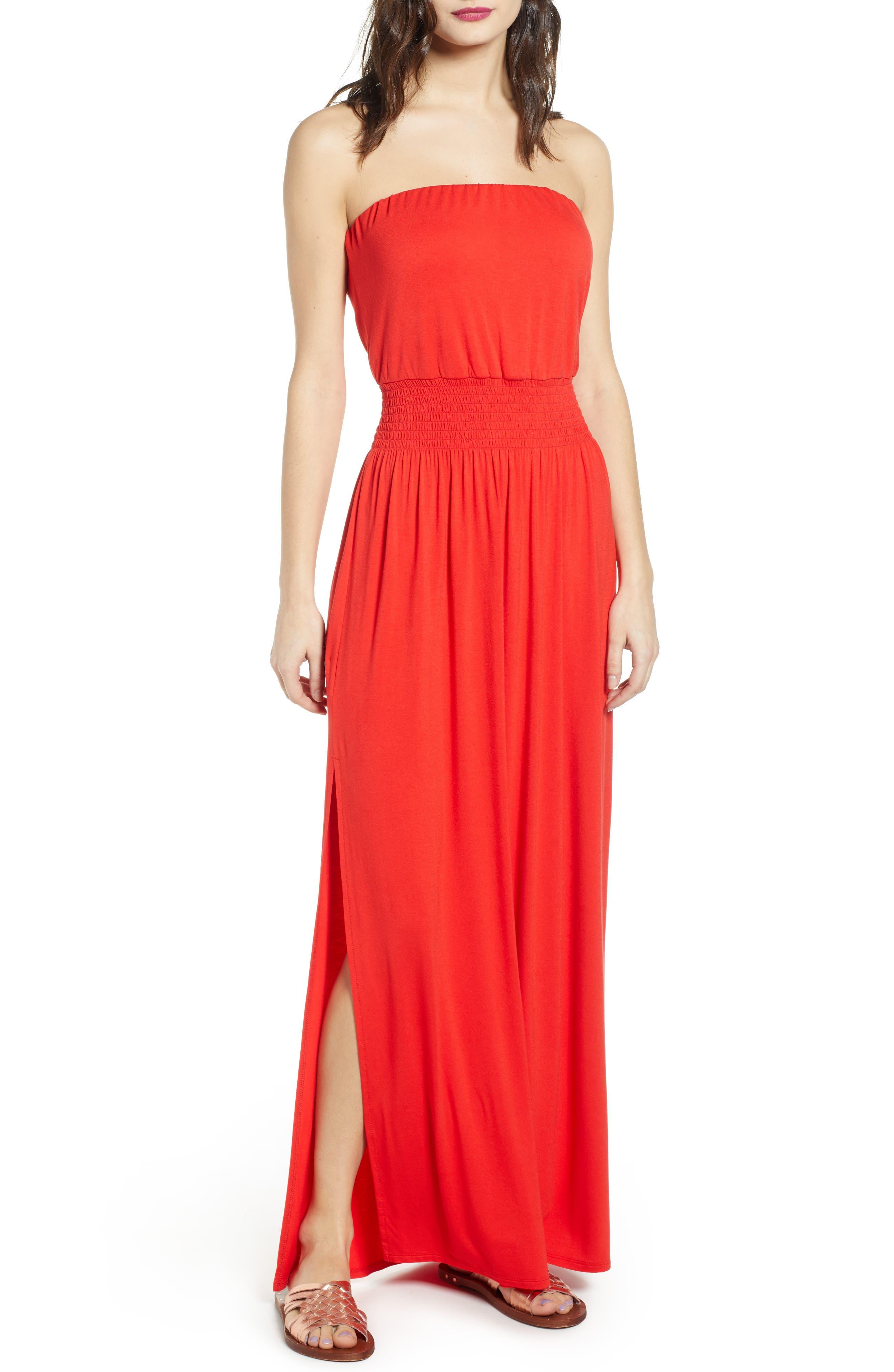 Bp. Strapless Maxi Dress, Red