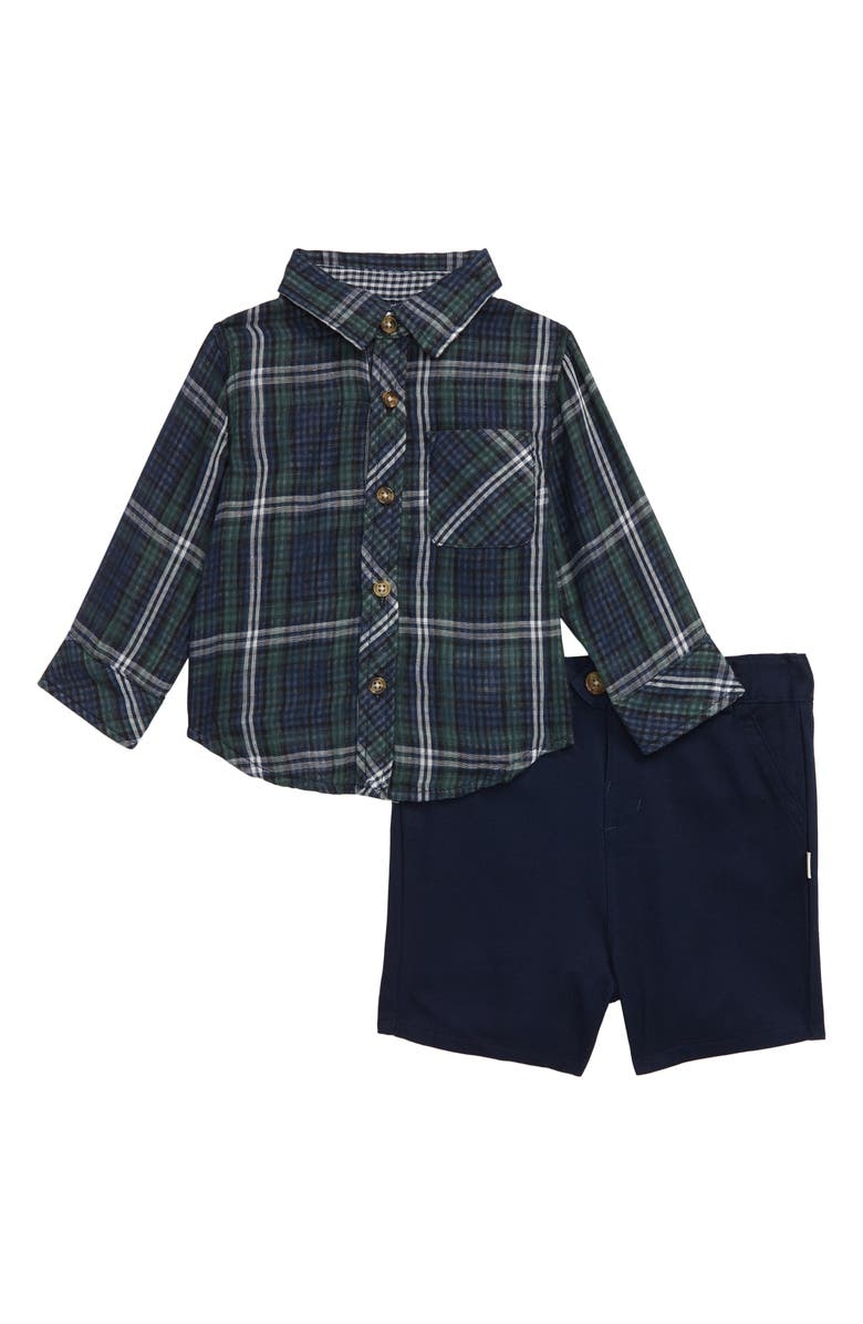 LITTLE BROTHER BY PIPPA & JULIE Double Knit Shirt & Shorts Set, Main, color, 424