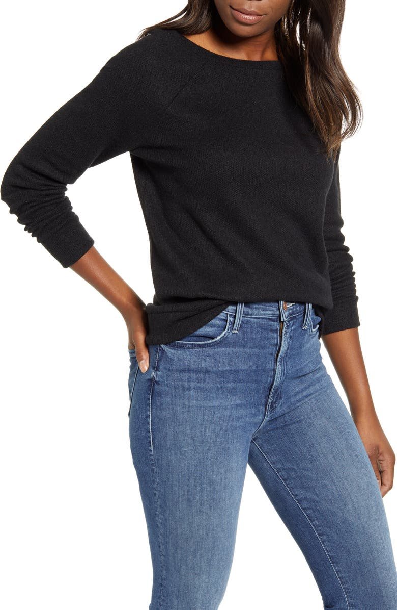 CASLON<SUP>®</SUP> Knit Pullover, Main, color, BLACK