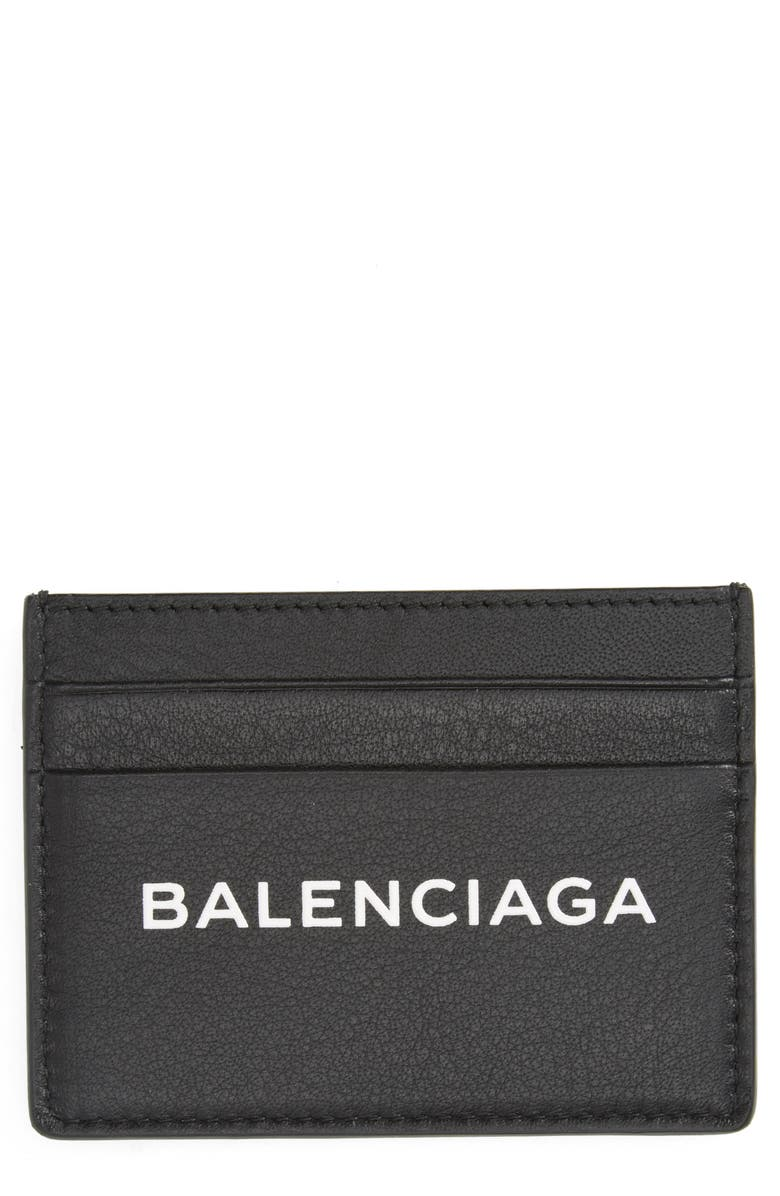 BALENCIAGA Logo Leather Card Case, Main, color, NOIR/ BLANC