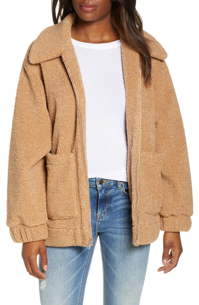 UGG<SUP>®</SUP> Jackeline Teddy Bear Jacket, Main, color, CAMEL