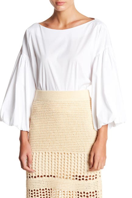 Image of BCBGMAXAZRIA Shirred Puff Sleeve Blouse
