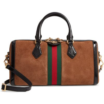 Gucci Ophidia Suede Top Handle Bag - Brown