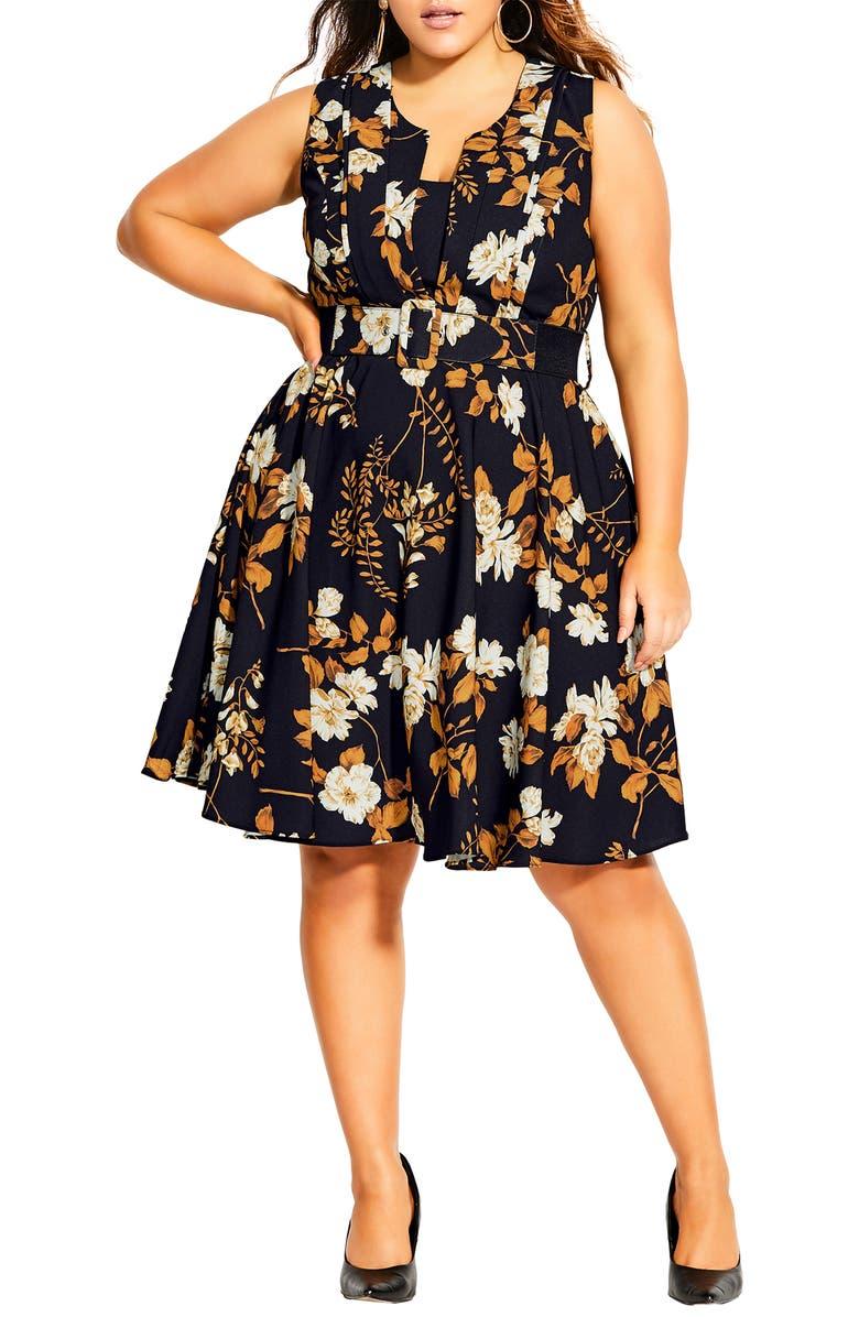 CITY CHIC Veronica Floral Fit & Flare Dress, Main, color, SHIMMER LEAF
