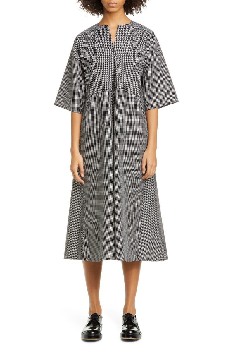 SOFIE D'HOORE Gingham Cotton Midi Dress, Main, color, 001