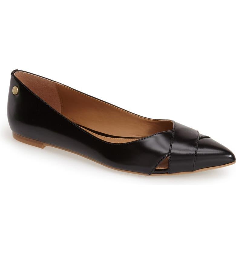 CALVIN KLEIN 'Gailia' Leather Pointy Toe Flat, Main, color, 001