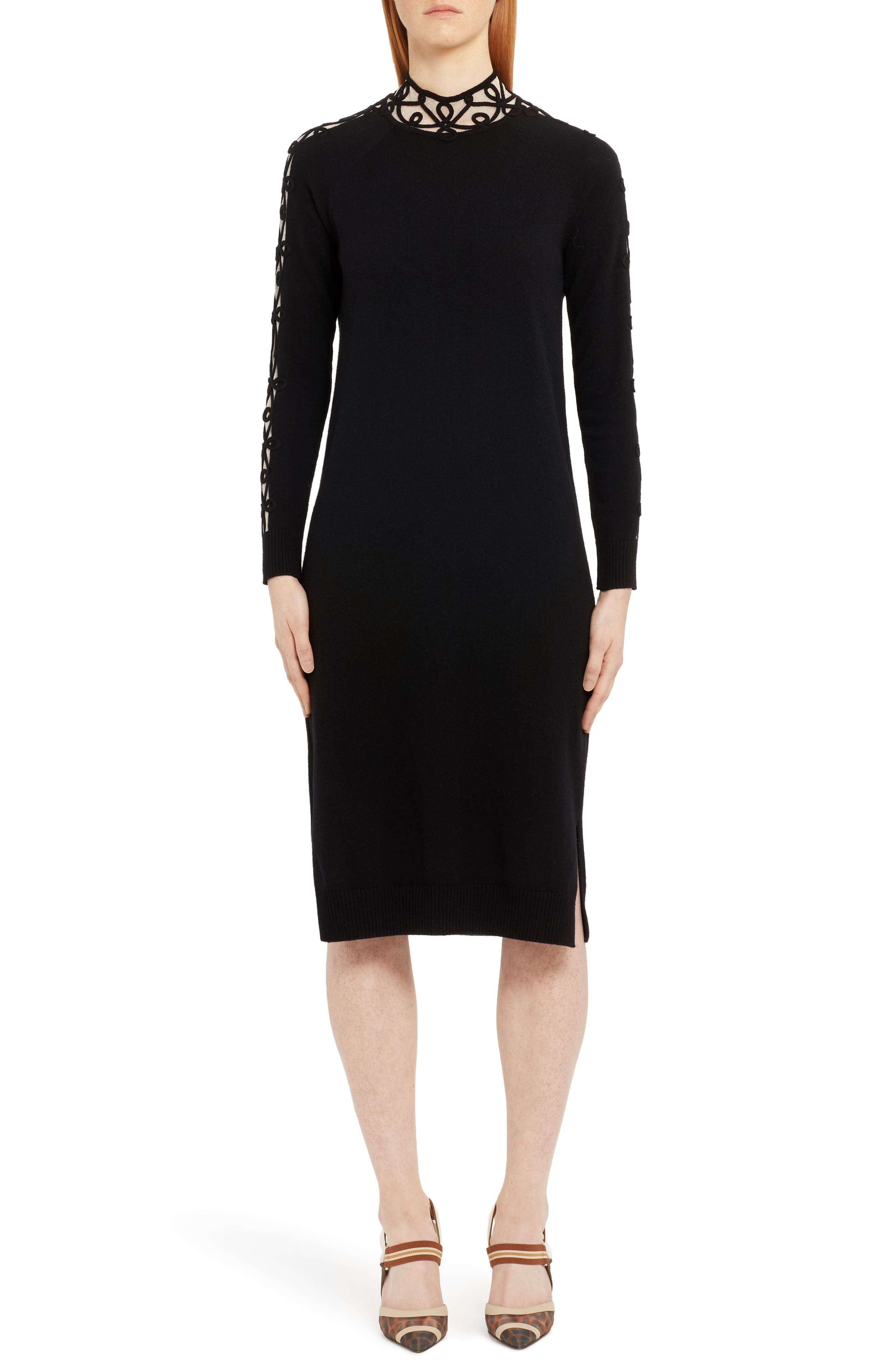 Fendi Long Sleeve Swirl Inset Cashmere Blend Sweater Dress, US / 40 IT - Black