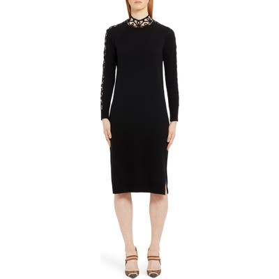 Fendi Long Sleeve Swirl Inset Cashmere Blend Sweater Dress, US / 40 IT - Black