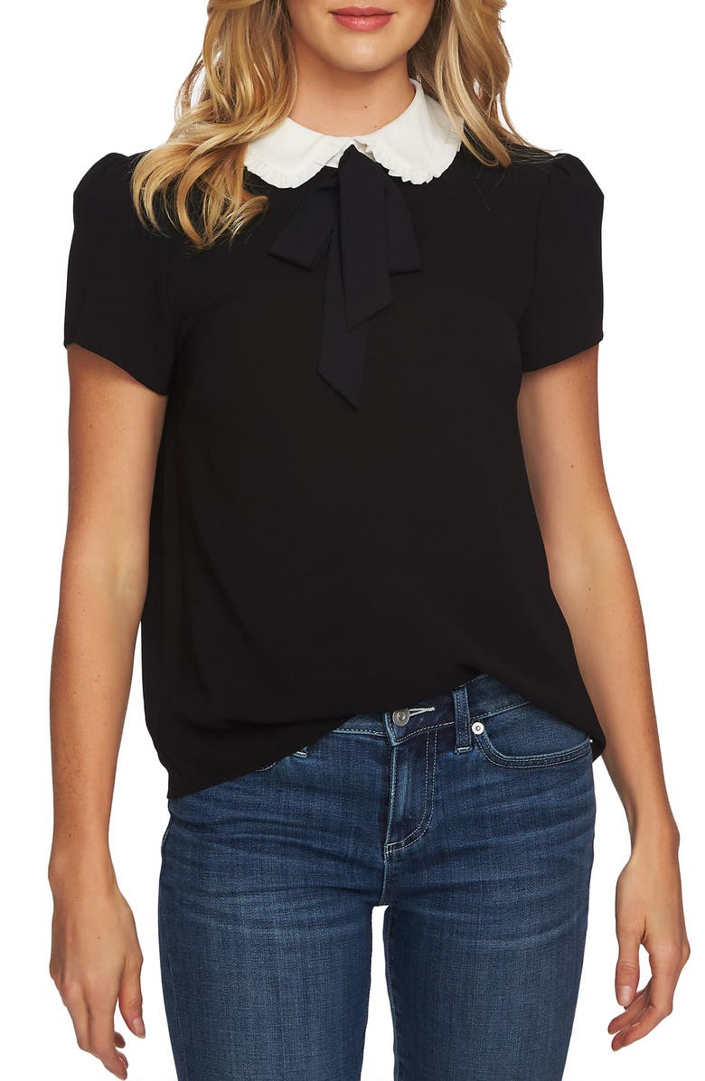 CECE Ruffle Collar Short Sleeve Blouse, Main, color, RICH BLACK