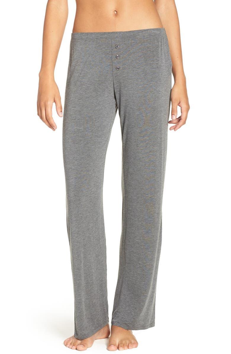 PJ SALVAGE Jersey Pajama Pants, Main, color, SMOKE