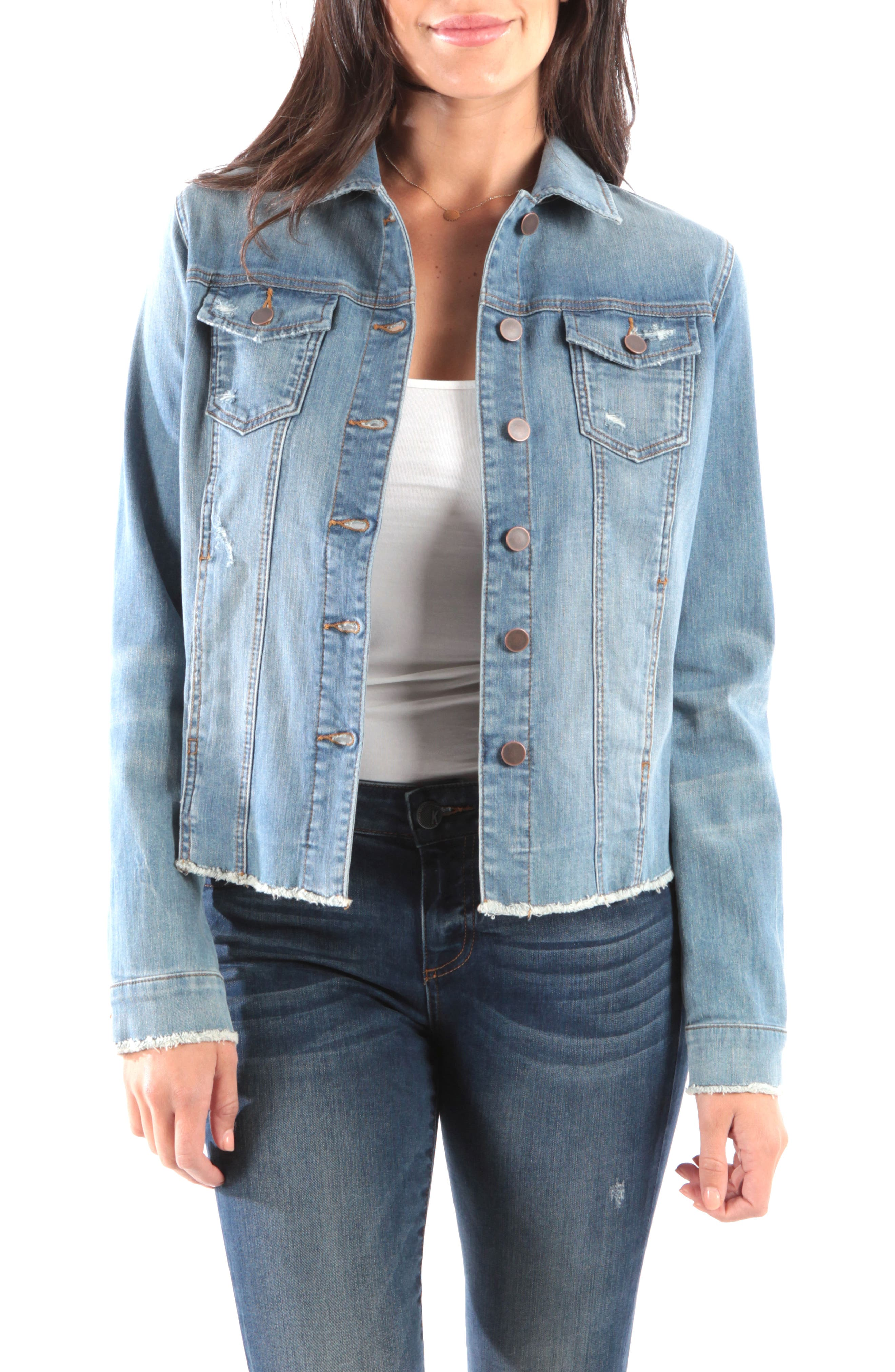 Arielle Frayed Denim Jacket, Main, color, PROCESS