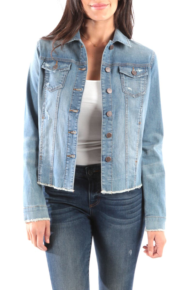 KUT FROM THE KLOTH Arielle Frayed Denim Jacket, Main, color, PROCESS