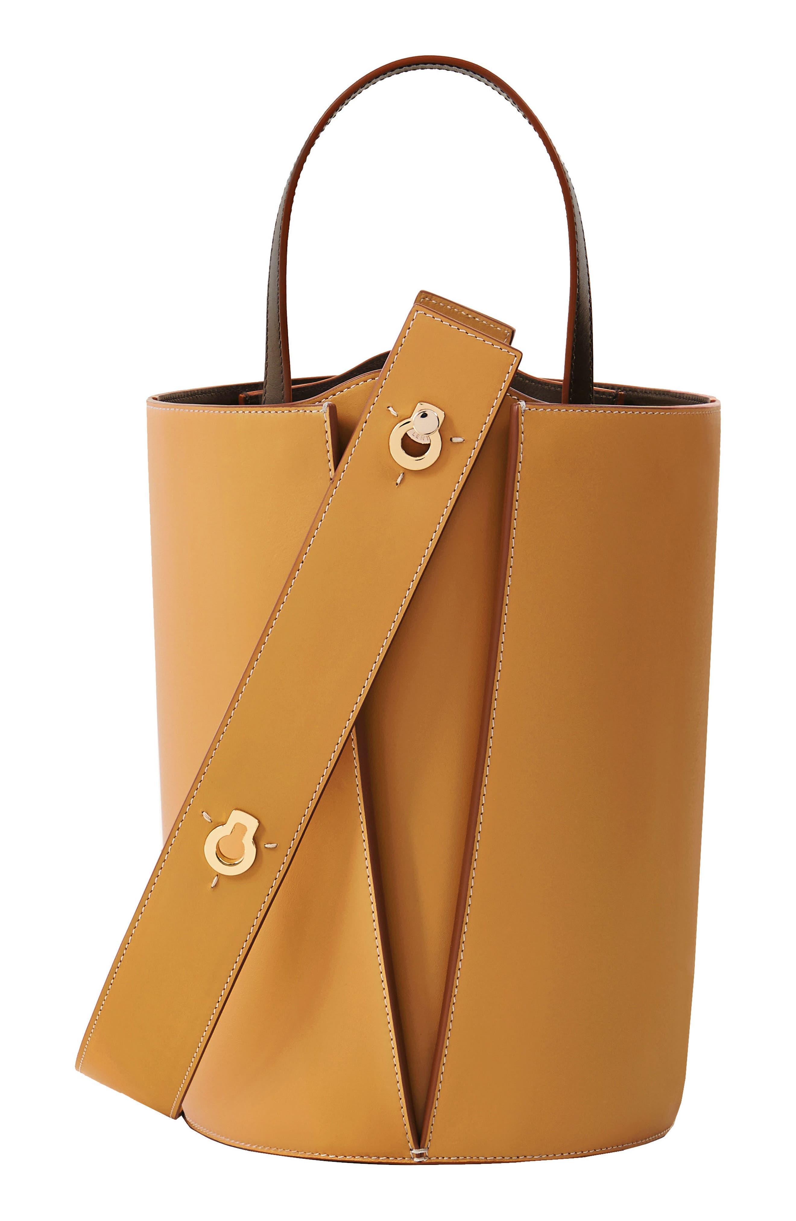 ,                             Mini Lorna Leather Bucket Bag,                             Alternate thumbnail 4, color,                             SAND