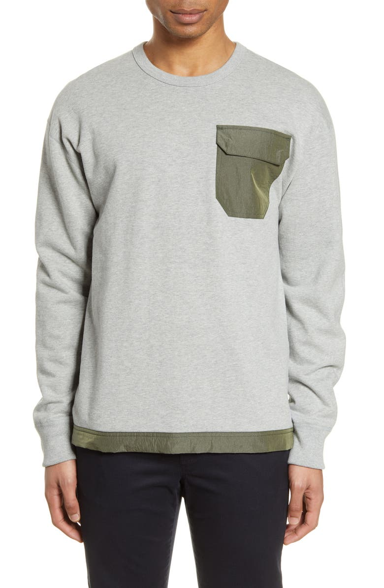 REIGNING CHAMP Mixed Media Sweatshirt, Main, color, 020