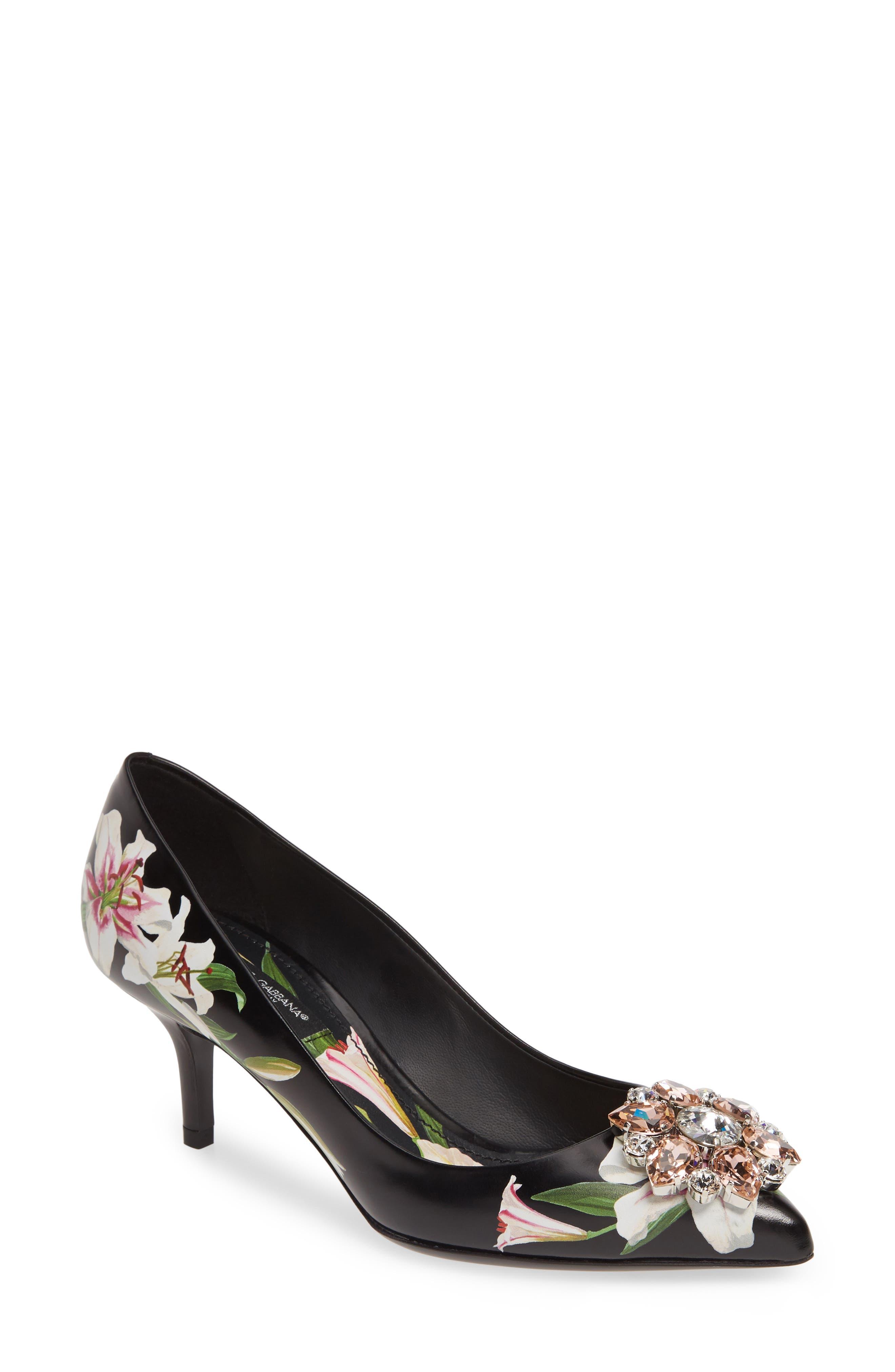 Dolce & gabbana Embellished Floral Pump - Black
