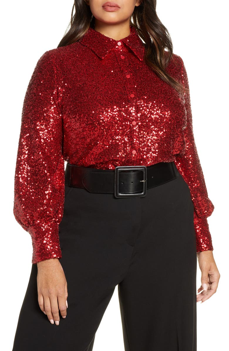 HALOGEN<SUP>®</SUP> x Atlantic-Pacific Bishop Sleeve Sequin Shirt, Main, color, RED CHILI