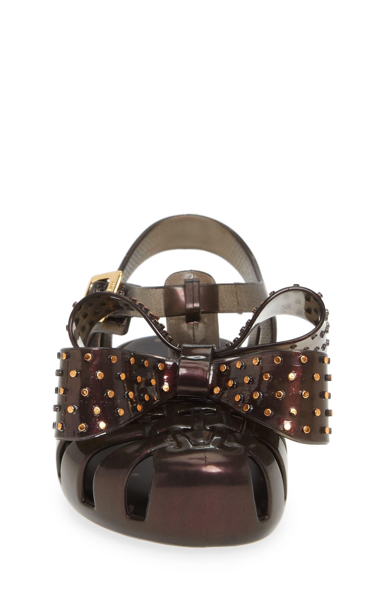 ,                             Aranha XIII Bow T-Strap Sandal,                             Alternate thumbnail 4, color,                             BLACK IRIDESCENT