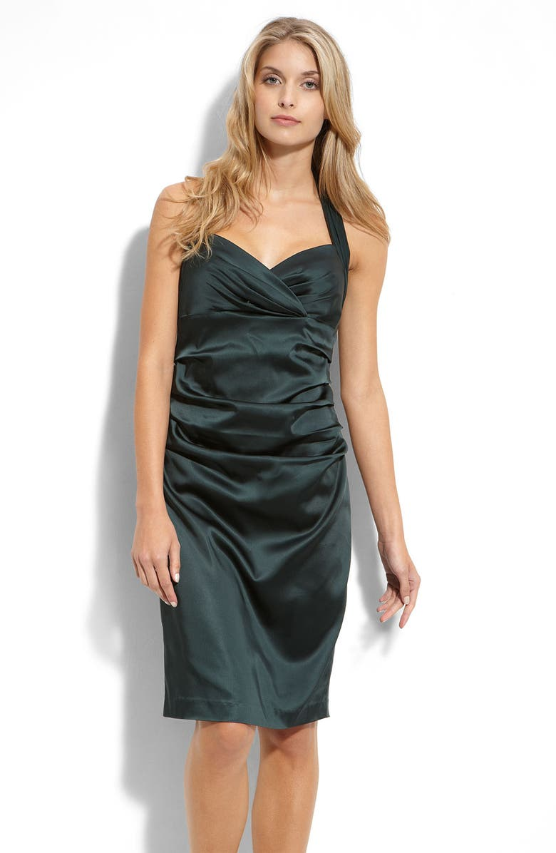 SUZI CHIN FOR MAGGY BOUTIQUE Ruched Stretch Satin Halter Dress, Main, color, 300
