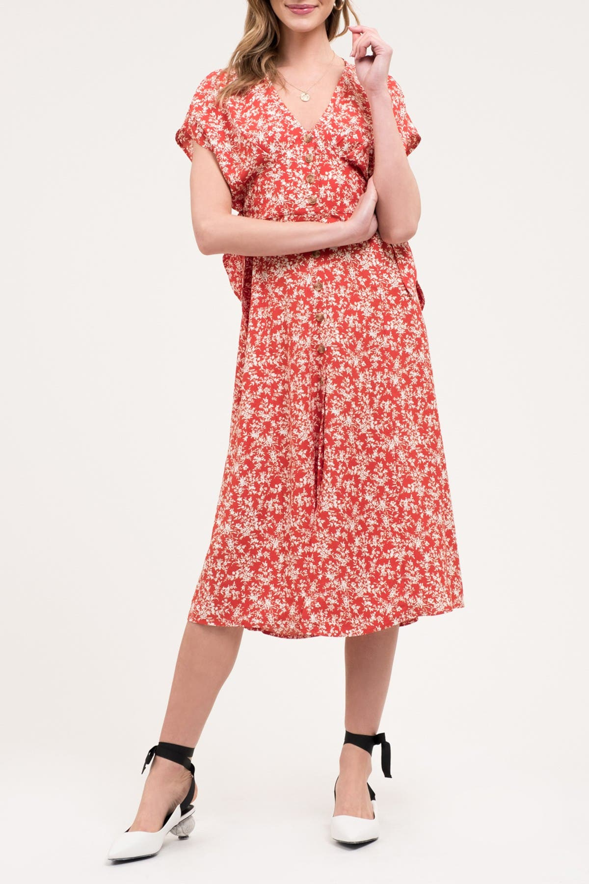 Image of Blu Pepper Short Sleeve Floral Print Midi Dress