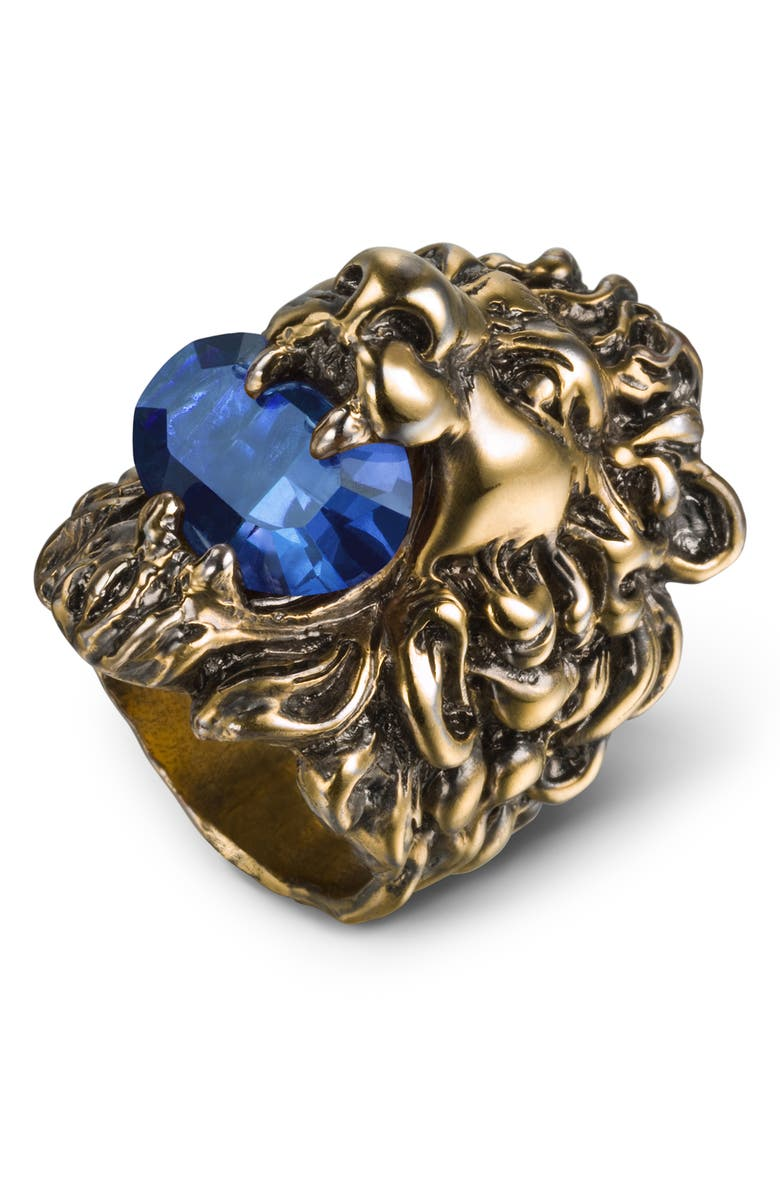 GUCCI Crystal Lion Head Ring, Main, color, 710