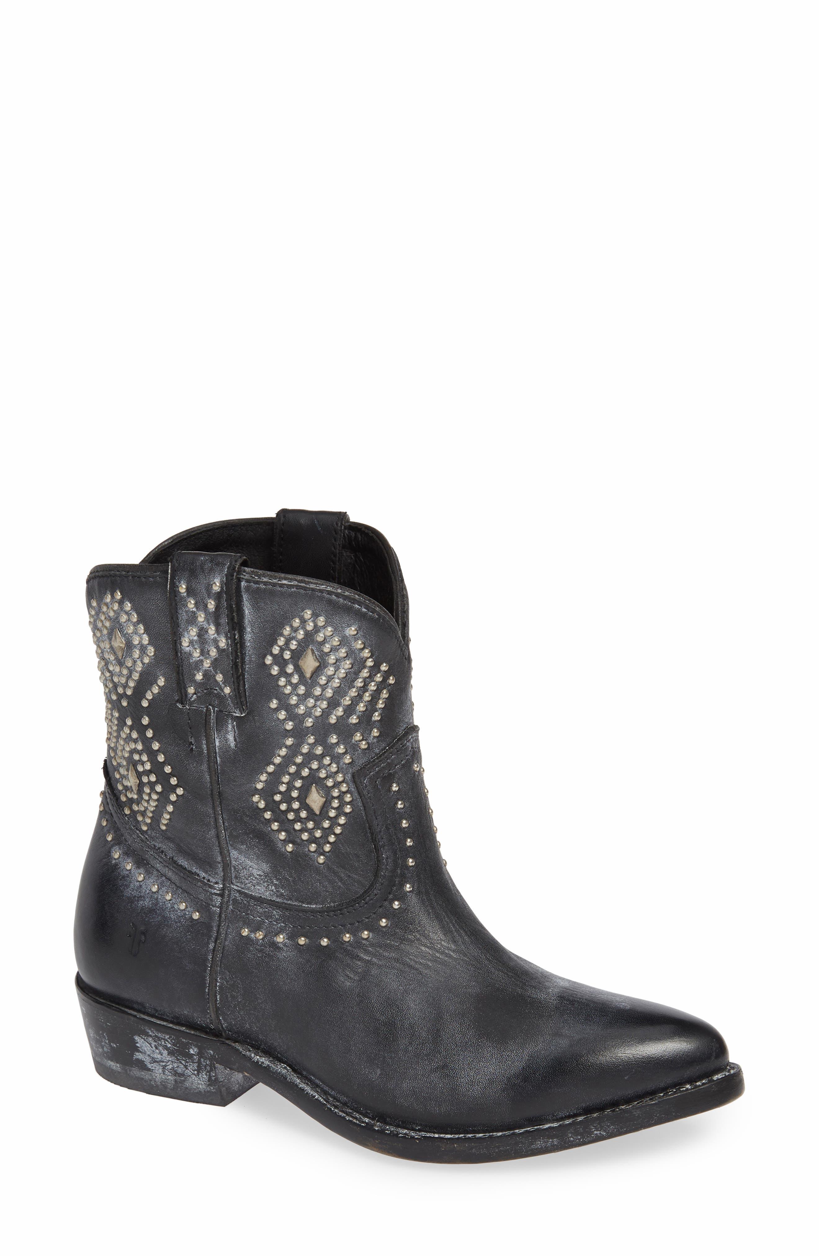 Frye Billy Stud Short Western Boot, Black