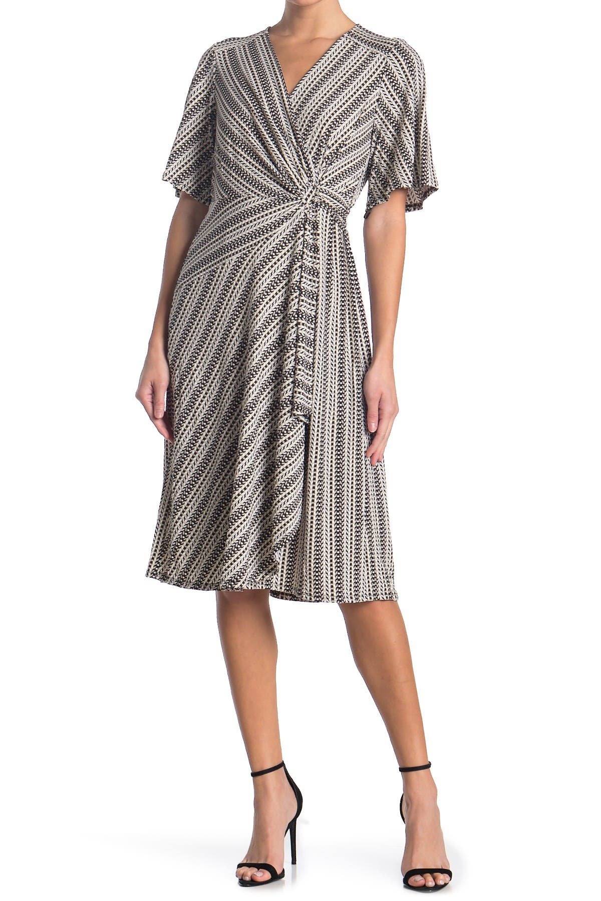Image of Robbie Bee Flutter Sleeve Twist Front Printed Midi Dress