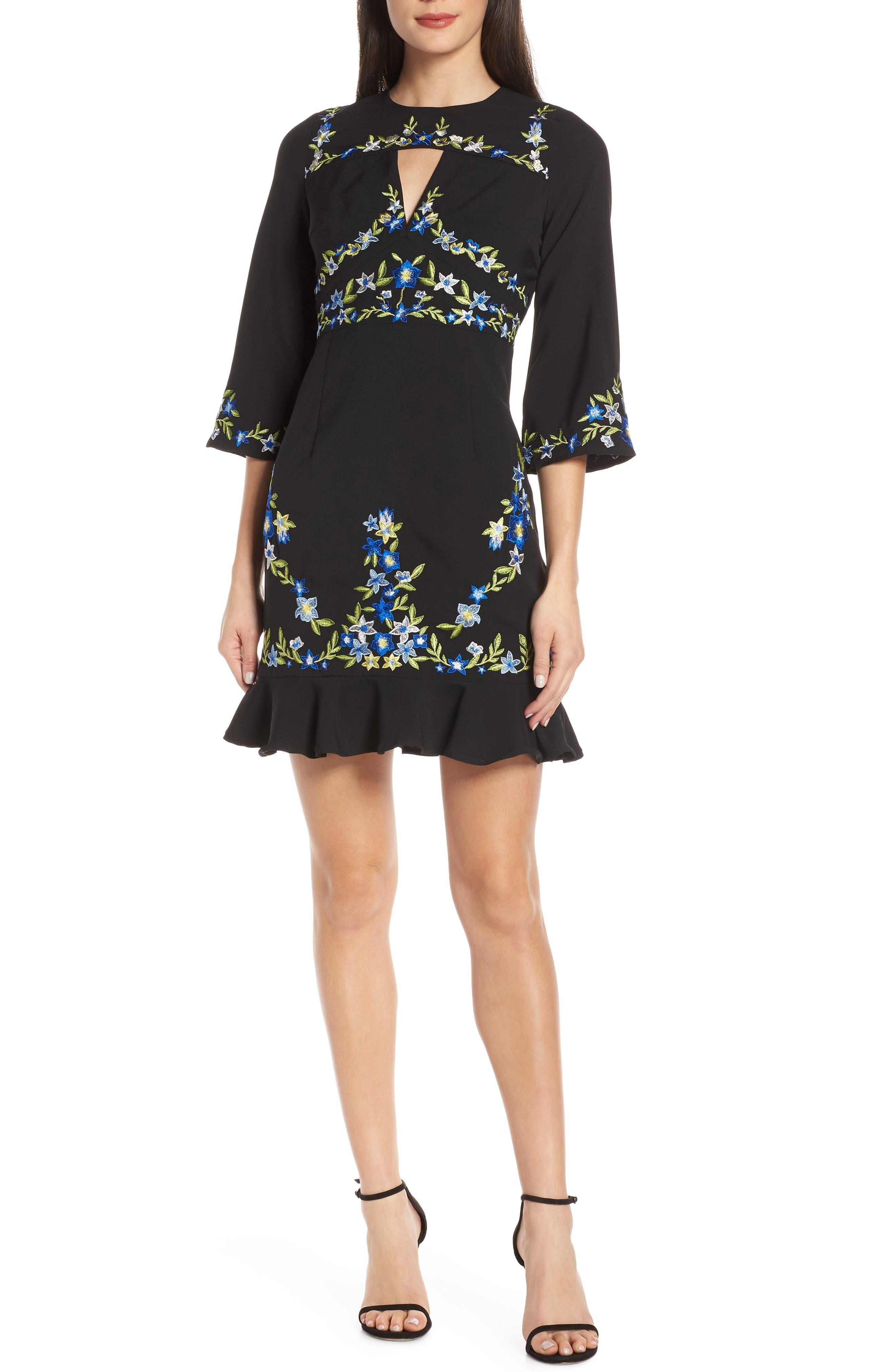 Foxiedox Jacinta Embroidered Dress, Black