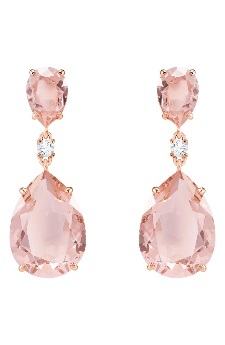 SWAROVSKI Pear Crystal Drop Earrings, Main, color, PINK