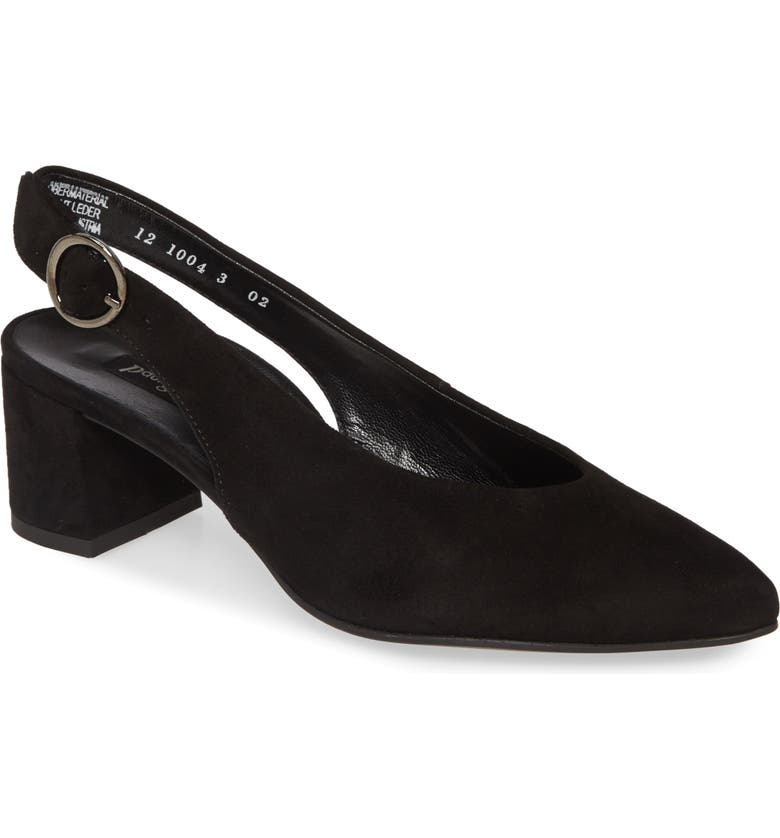 PAUL GREEN Brittany Pointed Toe Slingback Pump, Main, color, BLACK SUEDE