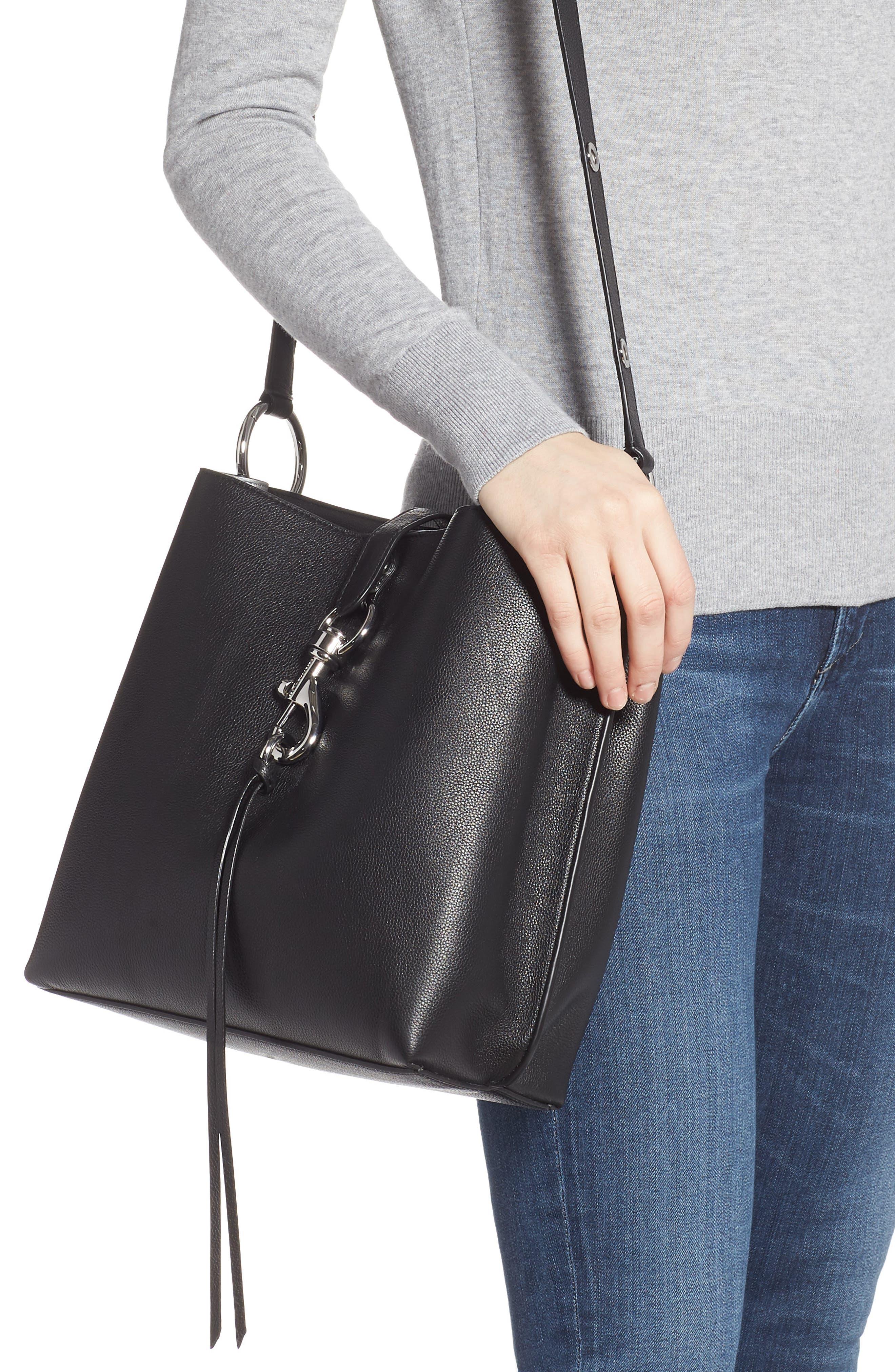 ,                             Megan Leather Crossbody Bag,                             Alternate thumbnail 2, color,                             BLACK