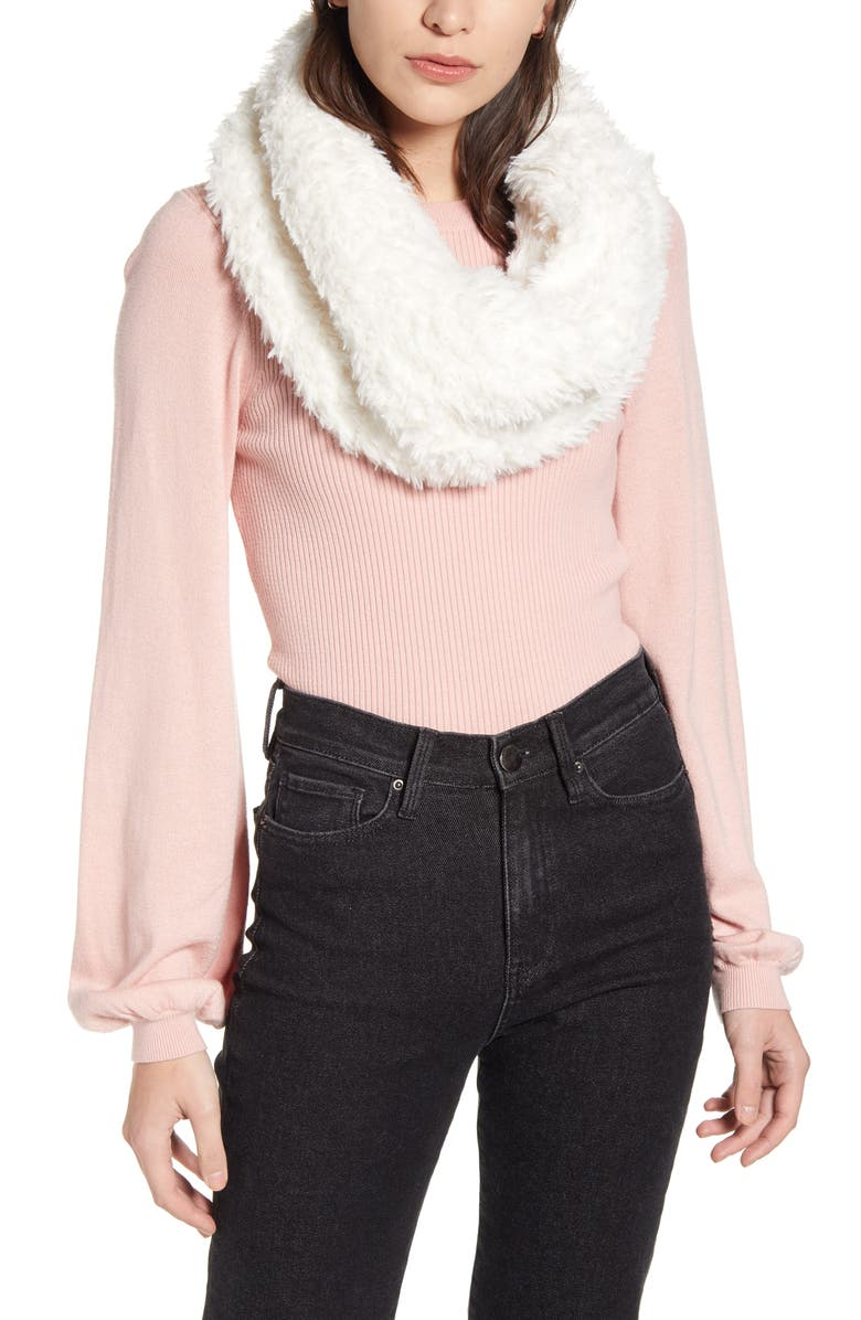 BP. Faux Fur Infinity Scarf, Main, color, IVORY COMBO