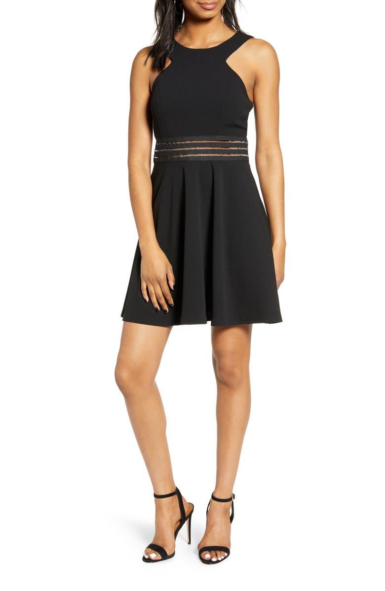 SPEECHLESS Illusion Detail Cutout Skater Dress, Main, color, BLACK