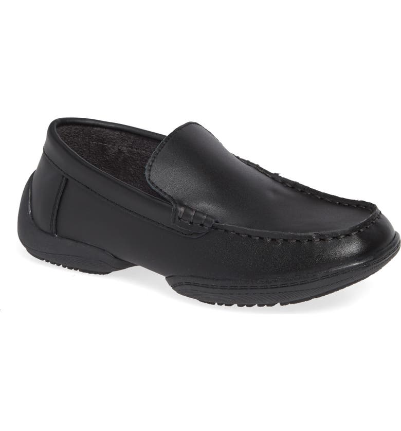 REACTION KENNETH COLE Driving Dime Moccasin, Main, color, DARK BLACK LEATHER
