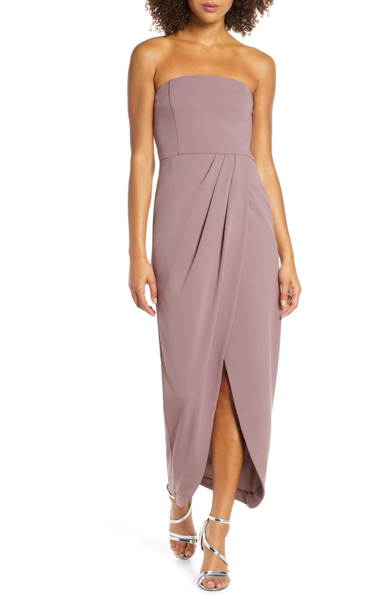 WAYF The Angelique Strapless Tulip Gown, Main, color, DARK ORCHID