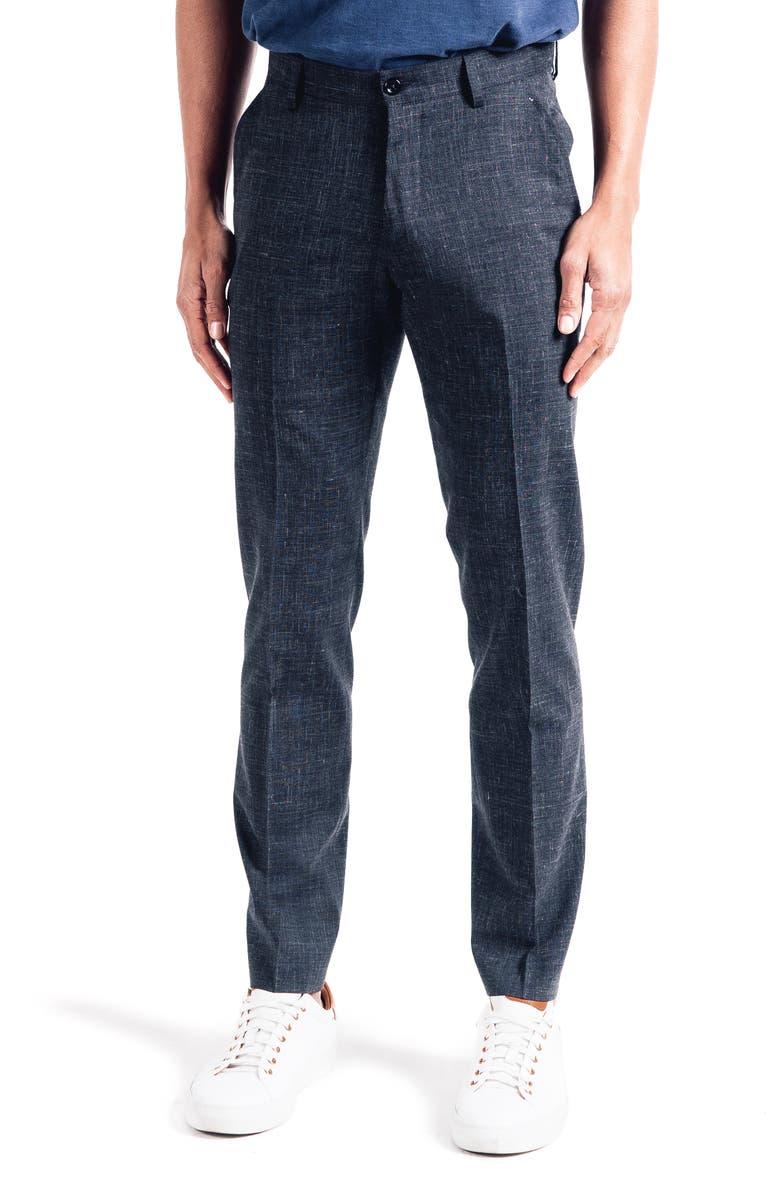 GOOD MAN BRAND Soho Slim Fit Flat Front Stretch Wool & Linen Dress Pants, Main, color, CHARCOAL