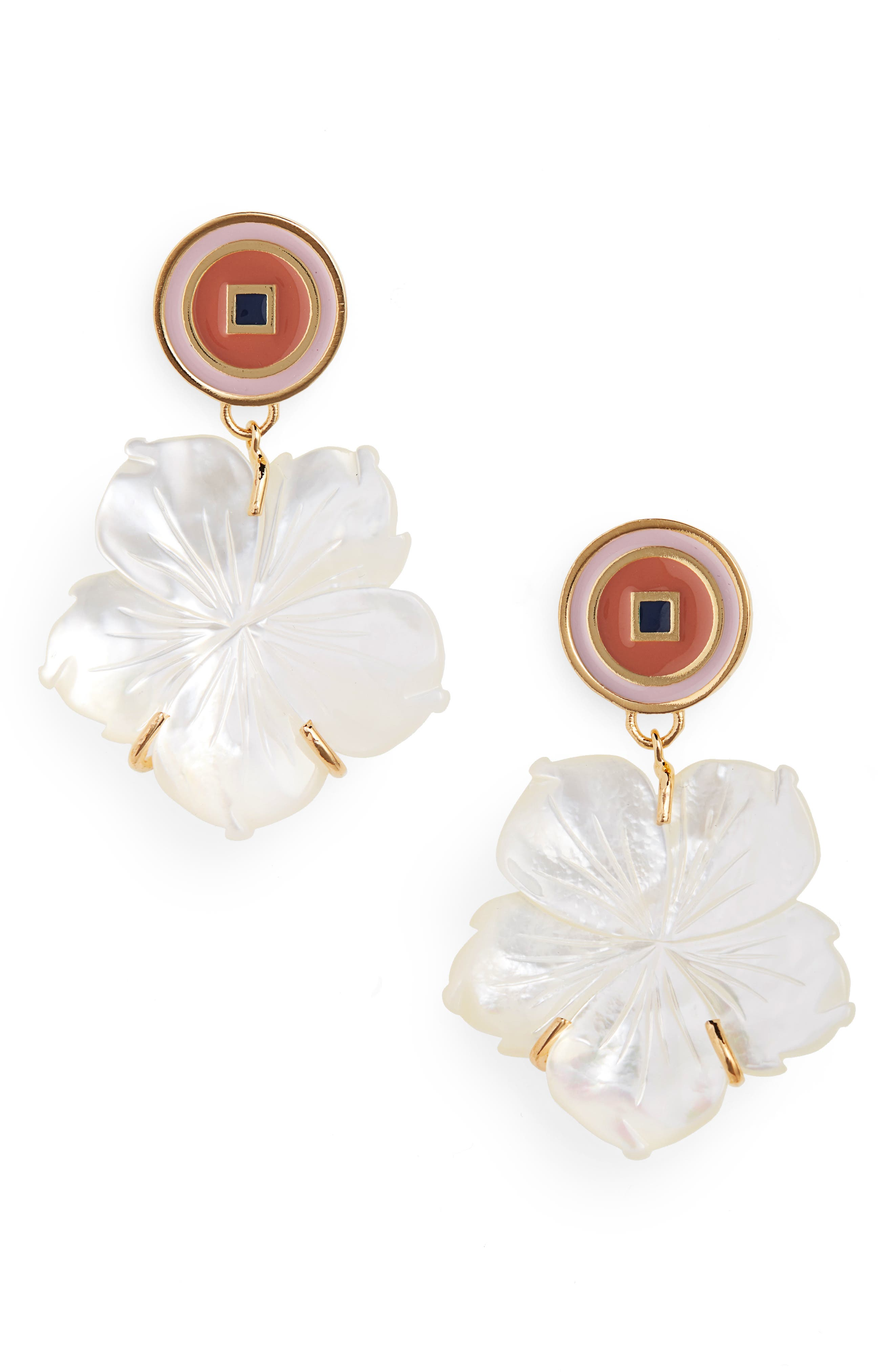 Monte Carlo Mother-of-Pearl Earrings, Main, color, MOTHER OF PEARL/ PEACH