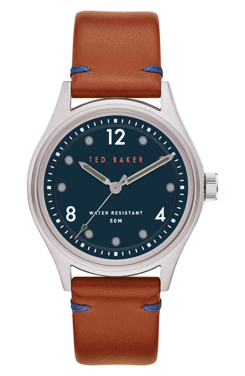 TED BAKER LONDON Beleeni Leather Strap Watch, 40mm, Main, color, TAN/ BLUE/ GUNMETAL