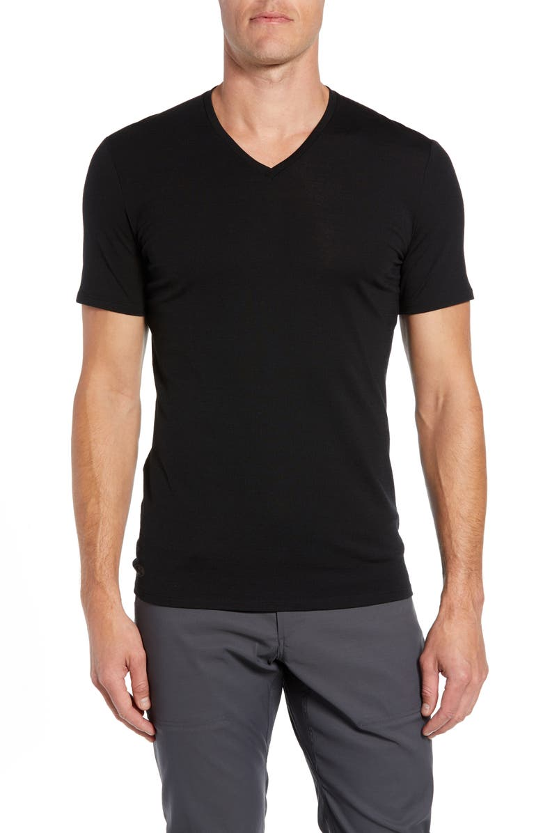 ICEBREAKER Anatomica Short Sleeve V-Neck T-Shirt, Main, color, 001