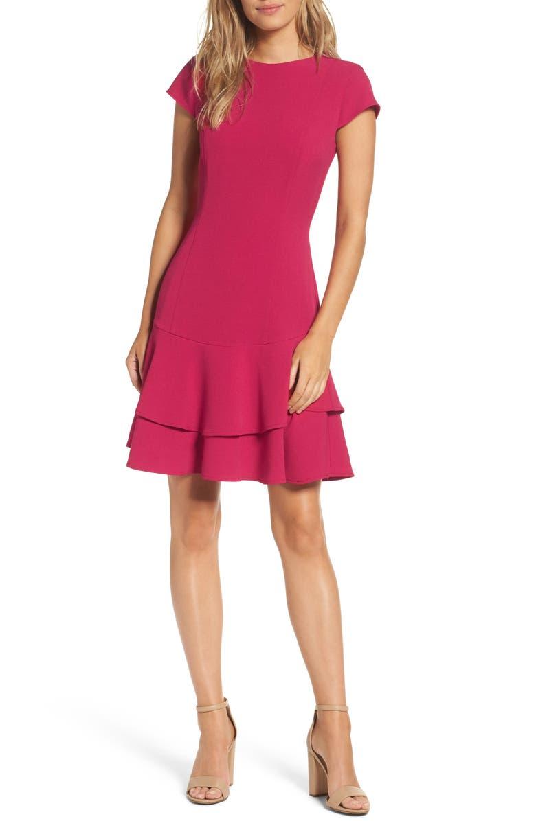 ELIZA J Stretch Ruffle Crepe Sheath Minidress, Main, color, BERRY
