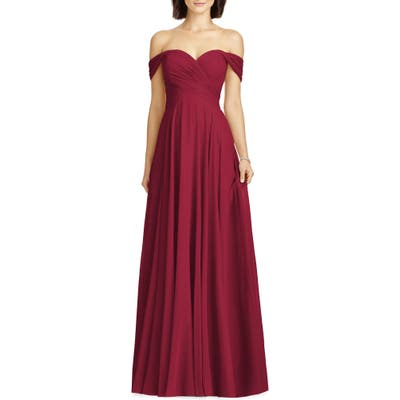 Dessy Collection Lux Ruched Off The Shoulder Chiffon Gown, Burgundy