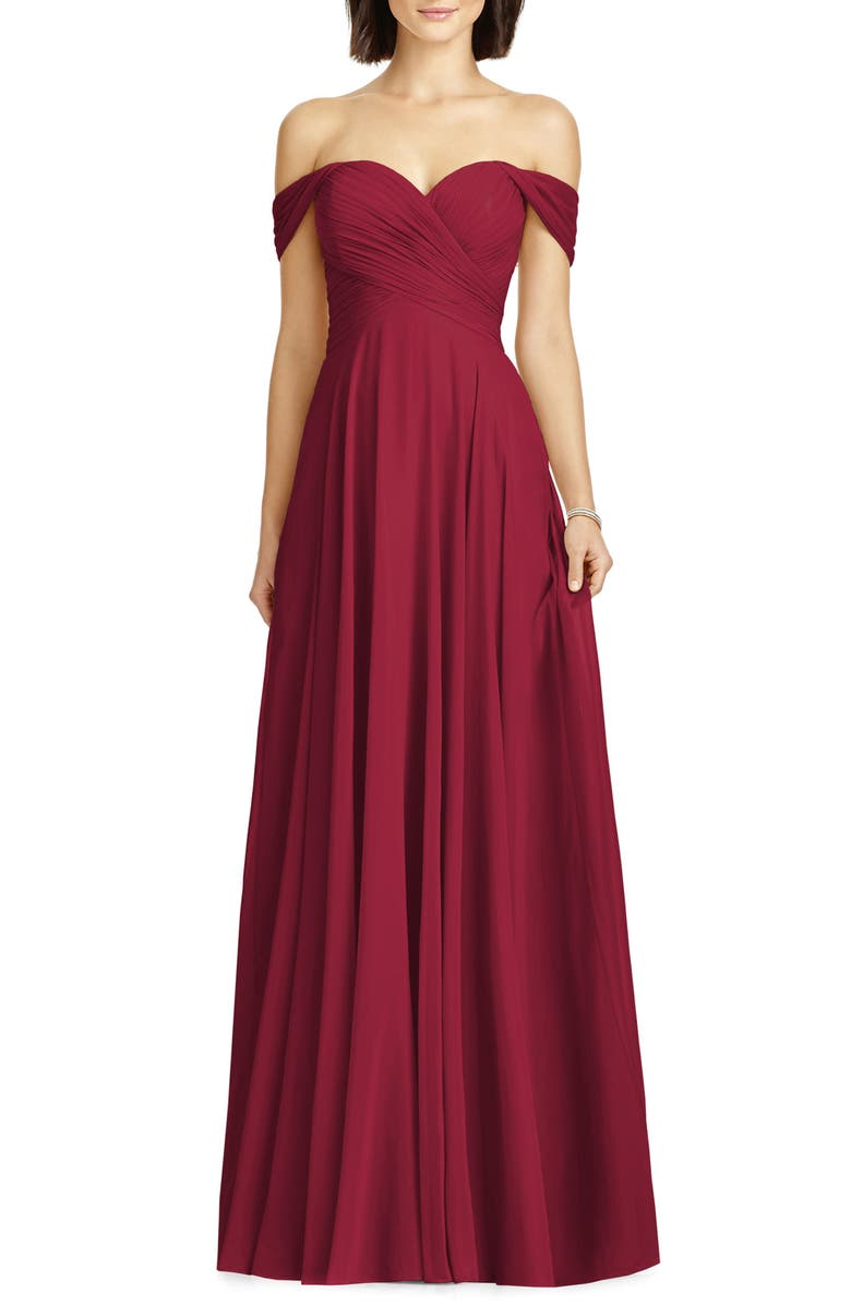 DESSY COLLECTION Lux Off the Shoulder Chiffon Gown, Main, color, BURGUNDY