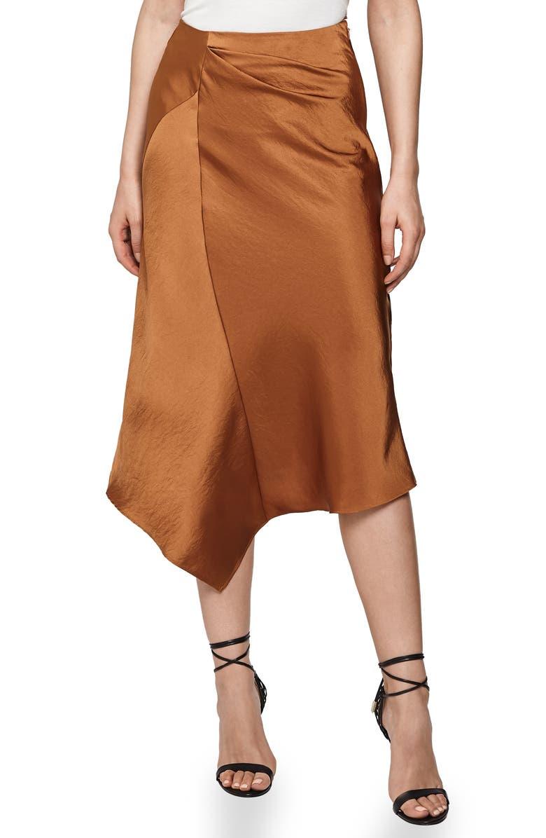 REISS Asymmetrical Skirt, Main, color, CINNAMON