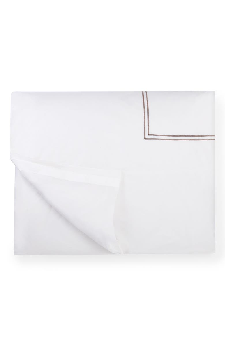 SFERRA Grande Hotel Duvet Cover, Main, color, WHITE/ GREY