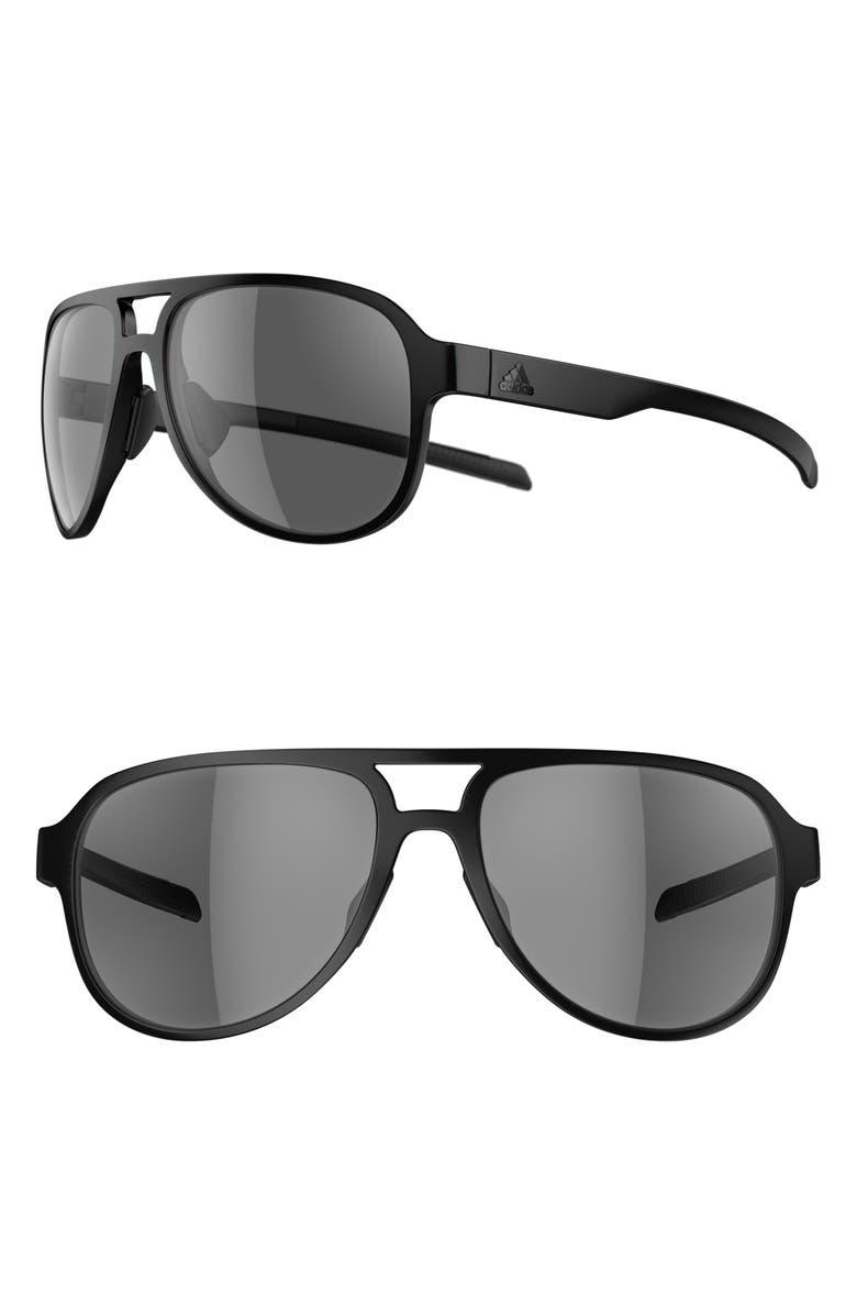 ADIDAS Pacyr 58mm Navigator Sport Sunglasses, Main, color, BLACK MATTE/ GREY
