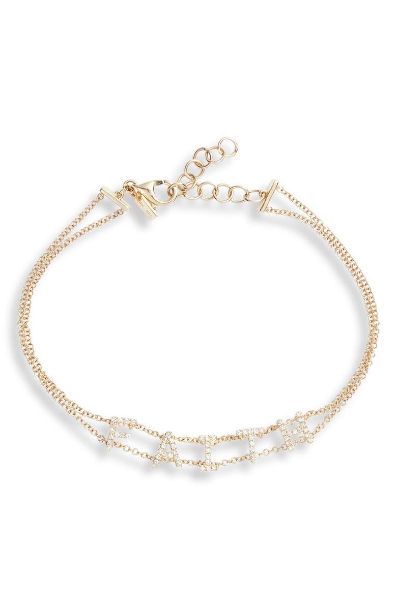 EF COLLECTION Faith Diamond Bracelet, Main, color, YELLOW GOLD/ DIA